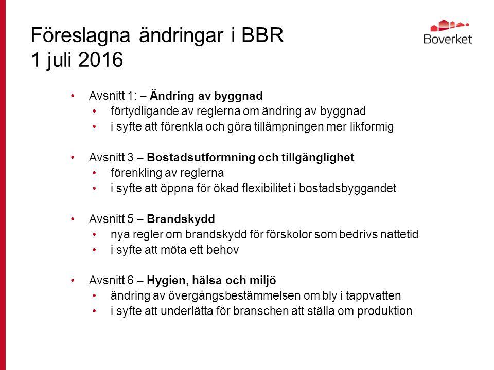Föreslagna ändringar i BBR 1 juli 2016 Avsnitt 1: – Ändring av byggnad förtydligande av reglerna om ändring av byggnad i syfte att förenkla och göra tillämpningen mer likformig Avsnitt 3 – Bostadsutformning och tillgänglighet förenkling av reglerna i syfte att öppna för ökad flexibilitet i bostadsbyggandet Avsnitt 5 – Brandskydd nya regler om brandskydd för förskolor som bedrivs nattetid i syfte att möta ett behov Avsnitt 6 – Hygien, hälsa och miljö ändring av övergångsbestämmelsen om bly i tappvatten i syfte att underlätta för branschen att ställa om produktion