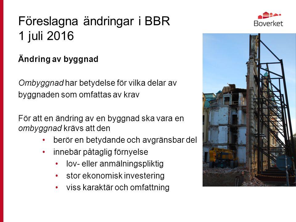 Föreslagna ändringar i BBR 1 juli 2016 Ändring av byggnad Ombyggnad har betydelse för vilka delar av byggnaden som omfattas av krav För att en ändring av en byggnad ska vara en ombyggnad krävs att den berör en betydande och avgränsbar del innebär påtaglig förnyelse lov- eller anmälningspliktig stor ekonomisk investering viss karaktär och omfattning