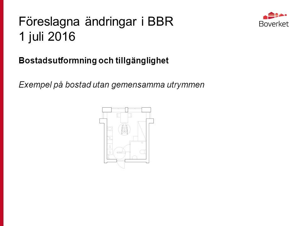 Föreslagna ändringar i BBR 1 juli 2016 Bostadsutformning och tillgänglighet Exempel på bostad utan gemensamma utrymmen