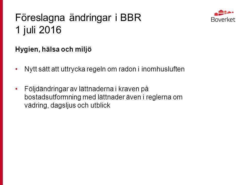 Föreslagna ändringar i BBR 1 juli 2016 Hygien, hälsa och miljö Nytt sätt att uttrycka regeln om radon i inomhusluften Följdändringar av lättnaderna i kraven på bostadsutformning med lättnader även i reglerna om vädring, dagsljus och utblick