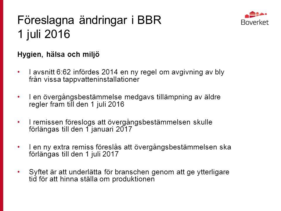 Föreslagna ändringar i BBR 1 juli 2016 Hygien, hälsa och miljö I avsnitt 6:62 infördes 2014 en ny regel om avgivning av bly från vissa tappvatteninstallationer I en övergångsbestämmelse medgavs tillämpning av äldre regler fram till den 1 juli 2016 I remissen föreslogs att övergångsbestämmelsen skulle förlängas till den 1 januari 2017 I en ny extra remiss föreslås att övergångsbestämmelsen ska förlängas till den 1 juli 2017 Syftet är att underlätta för branschen genom att ge ytterligare tid för att hinna ställa om produktionen