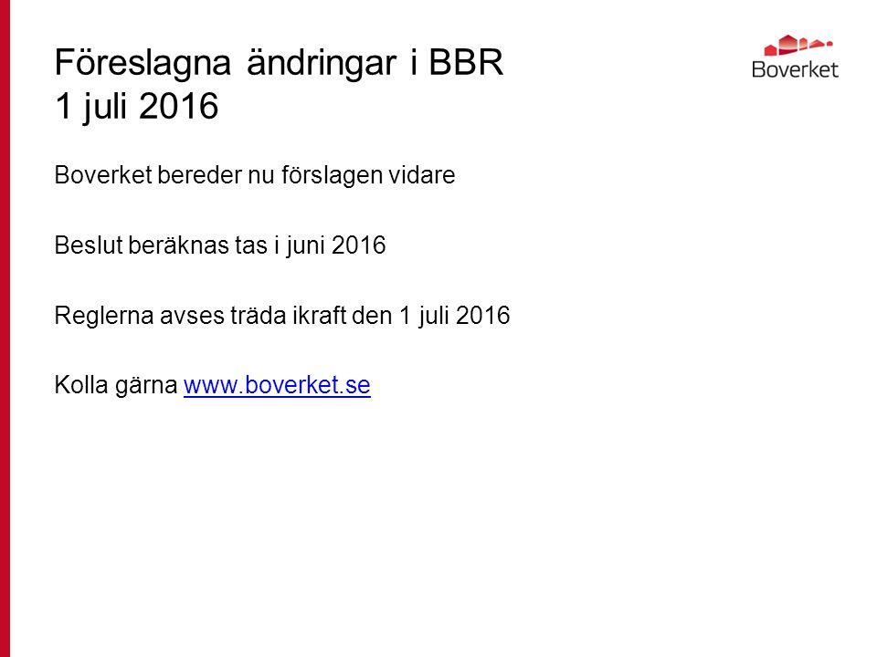 Föreslagna ändringar i BBR 1 juli 2016 Boverket bereder nu förslagen vidare Beslut beräknas tas i juni 2016 Reglerna avses träda ikraft den 1 juli 2016 Kolla gärna www.boverket.sewww.boverket.se