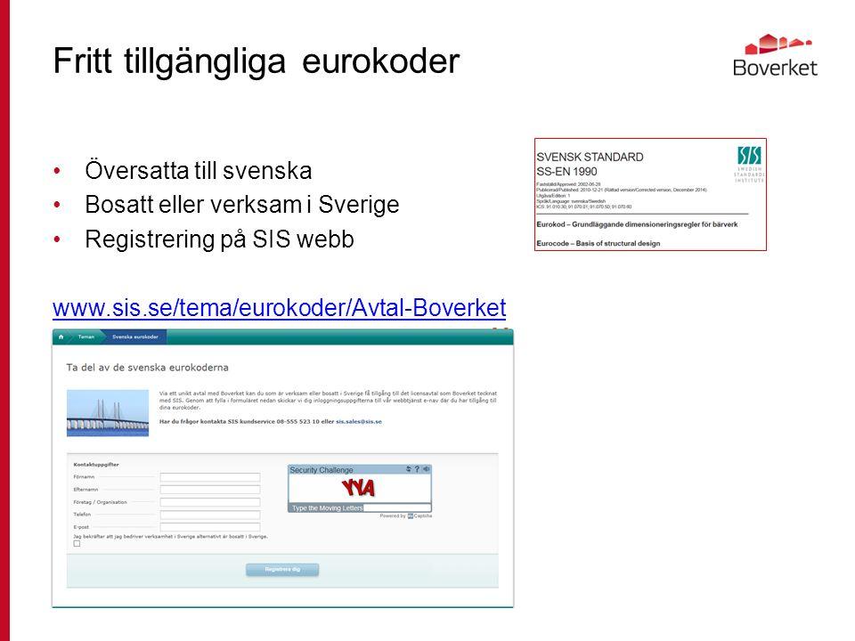 Fritt tillgängliga eurokoder Översatta till svenska Bosatt eller verksam i Sverige Registrering på SIS webb www.sis.se/tema/eurokoder/Avtal-Boverket