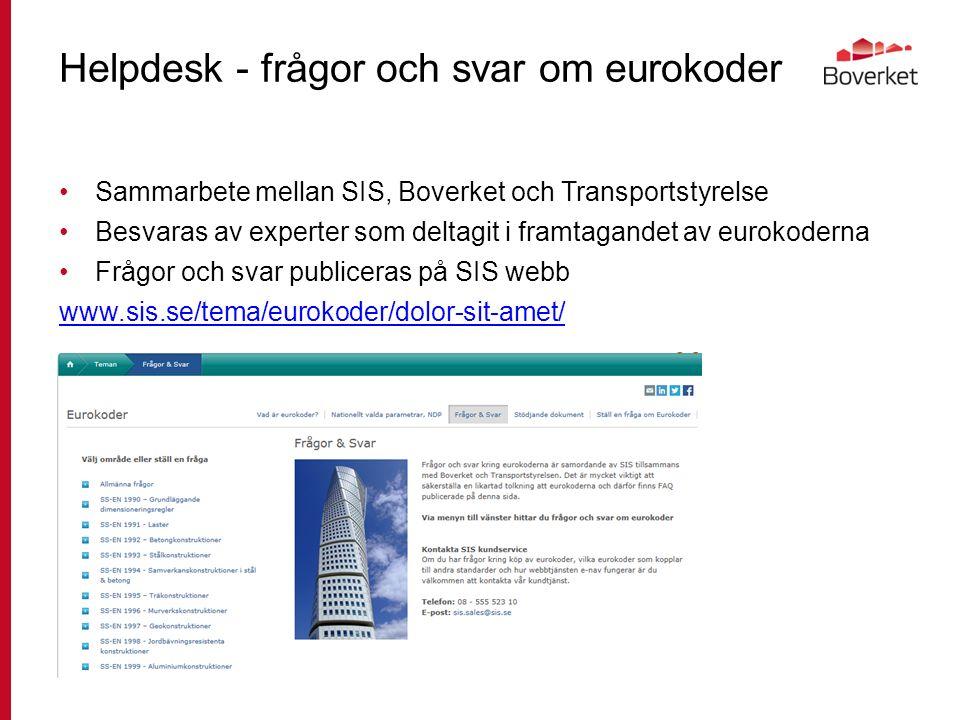 Helpdesk - frågor och svar om eurokoder Sammarbete mellan SIS, Boverket och Transportstyrelse Besvaras av experter som deltagit i framtagandet av eurokoderna Frågor och svar publiceras på SIS webb www.sis.se/tema/eurokoder/dolor-sit-amet/