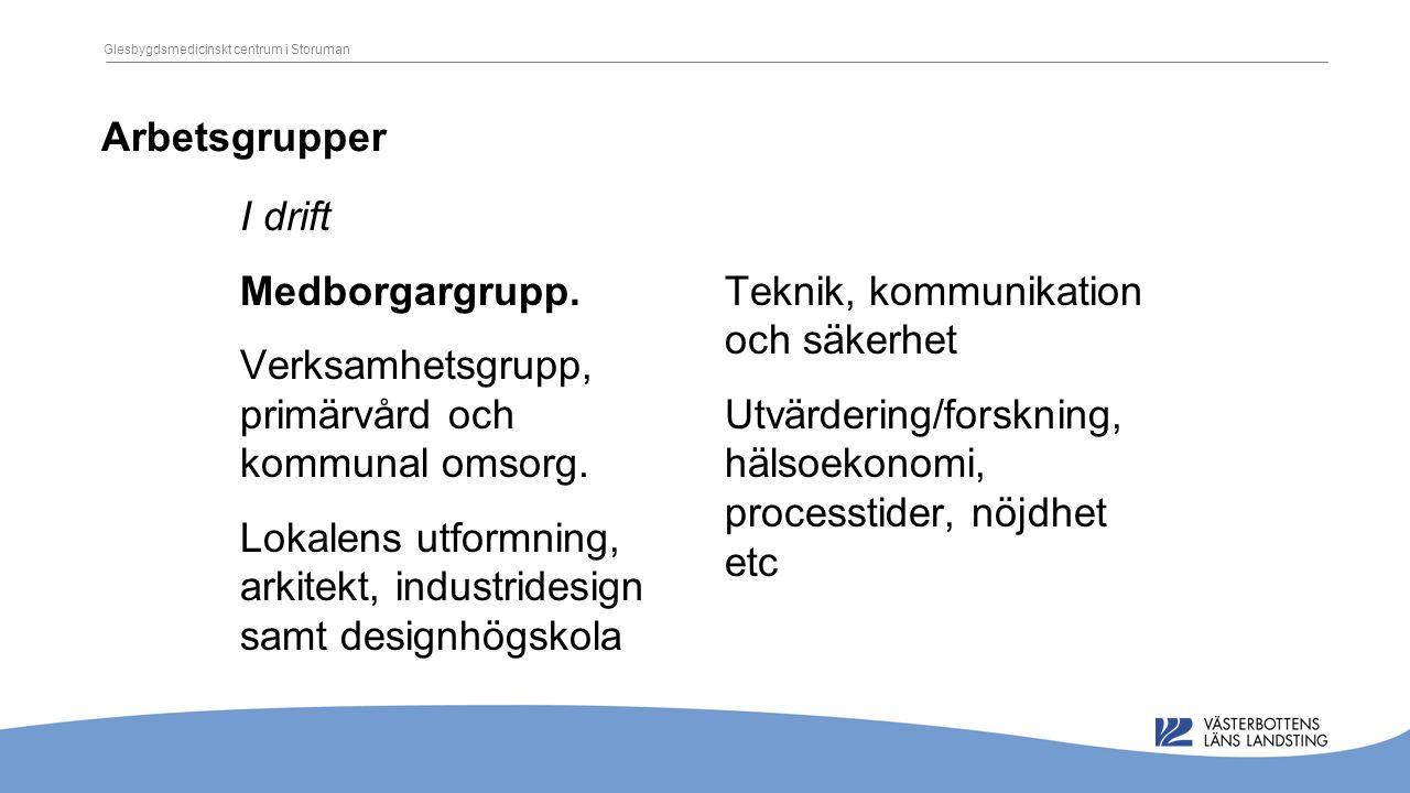 Arbetsgrupper I drift Medborgargrupp. Verksamhetsgrupp, primärvård och kommunal omsorg.