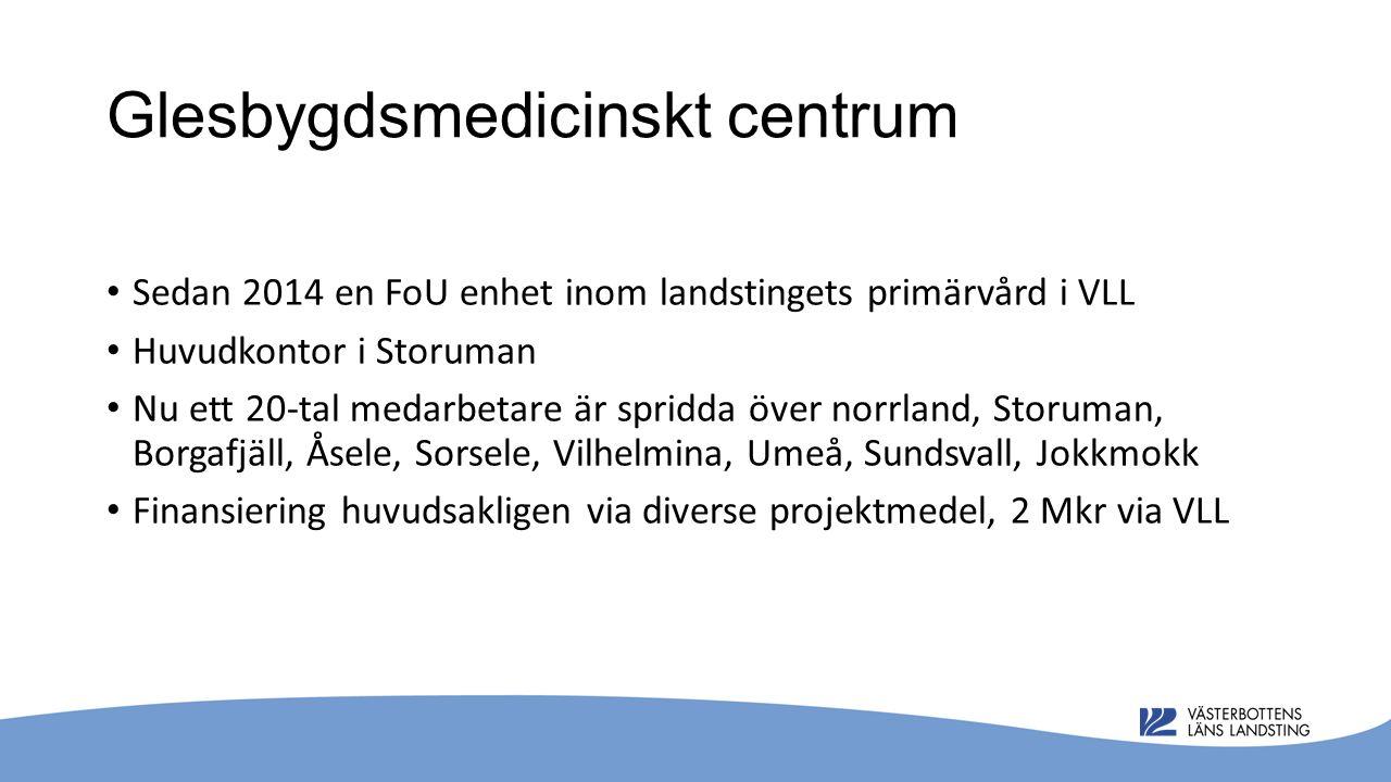 Glesbygdsmedicinskt centrum Sedan 2014 en FoU enhet inom landstingets primärvård i VLL Huvudkontor i Storuman Nu ett 20-tal medarbetare är spridda över norrland, Storuman, Borgafjäll, Åsele, Sorsele, Vilhelmina, Umeå, Sundsvall, Jokkmokk Finansiering huvudsakligen via diverse projektmedel, 2 Mkr via VLL