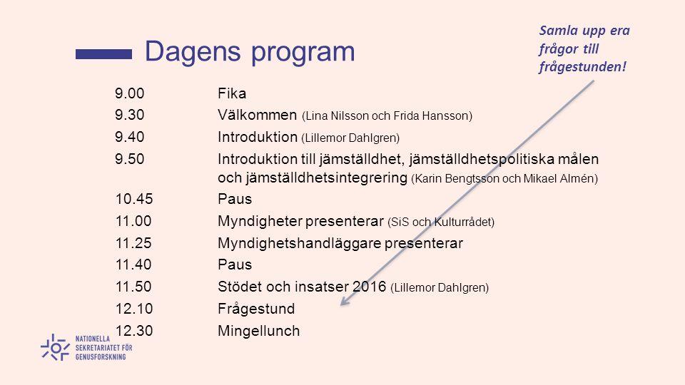 9.00 Fika 9.30 Välkommen (Lina Nilsson och Frida Hansson) 9.40 Introduktion (Lillemor Dahlgren) 9.50 Introduktion till jämställdhet, jämställdhetspolitiska målen och jämställdhetsintegrering (Karin Bengtsson och Mikael Almén) 10.45 Paus 11.00 Myndigheter presenterar (SiS och Kulturrådet) 11.25 Myndighetshandläggare presenterar 11.40 Paus 11.50 Stödet och insatser 2016 (Lillemor Dahlgren) 12.10 Frågestund 12.30 Mingellunch Dagens program Samla upp era frågor till frågestunden!