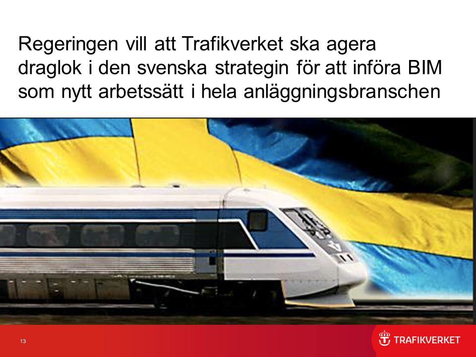 13 Regeringen vill att Trafikverket ska agera draglok i den svenska strategin för att införa BIM som nytt arbetssätt i hela anläggningsbranschen