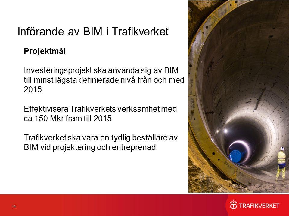 14 Införande av BIM i Trafikverket Projektmål Investeringsprojekt ska använda sig av BIM till minst lägsta definierade nivå från och med 2015 Effektivisera Trafikverkets verksamhet med ca 150 Mkr fram till 2015 Trafikverket ska vara en tydlig beställare av BIM vid projektering och entreprenad