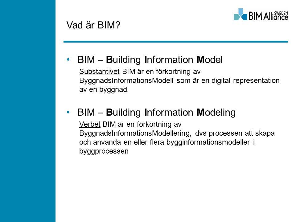 Vad är BIM? BIM – Building Information Model Substantivet BIM är en förkortning av ByggnadsInformationsModell som är en digital representation av en b