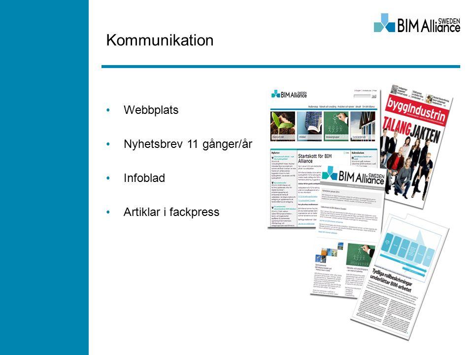 Kommunikation Webbplats Nyhetsbrev 11 gånger/år Infoblad Artiklar i fackpress