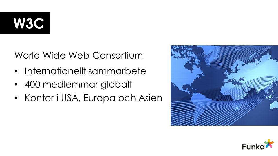 W3C World Wide Web Consortium Internationellt sammarbete 400 medlemmar globalt Kontor i USA, Europa och Asien