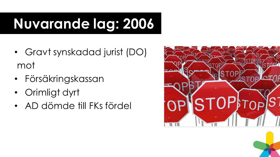 Nuvarande lag: 2006 Gravt synskadad jurist (DO) mot Försäkringskassan Orimligt dyrt AD dömde till FKs fördel