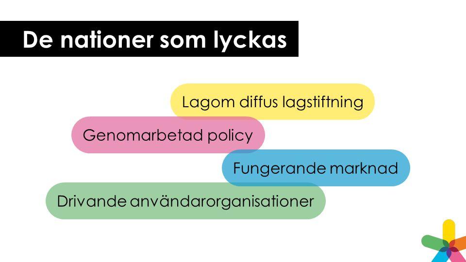 De nationer som lyckas Lagom diffus lagstiftning Genomarbetad policy Drivande användarorganisationer Fungerande marknad