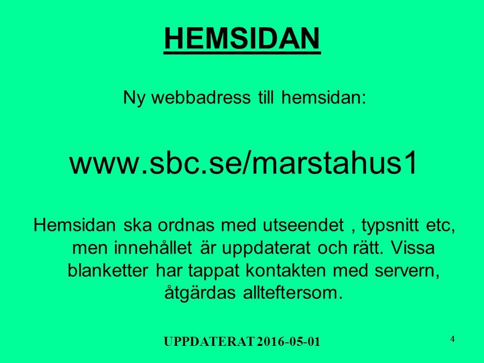 33 EXPEDITIONS TIDER för Märstahus 1 BRF Telefontid helgfri måndag kl 18-19 tel 08-591 17865 (går ej att lämna meddelanden) Besökstid helgfri torsdag kl 18-19 Frejgatan 53, bv Föreningens websida: www.sbc.se/marstahus1 E-Mail: felanmälan till: felanmalan@marstahus.com eller övr ärenden: kontoret@marstahus.com På helgfria vardagar 7.00 -16.00 arbetar: Toivo 0707 - 545 620 eller Karin 0707-545 660 3 UPPDATERAT 2016-05-01
