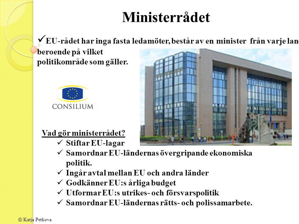 © Katja Petkova EU-rådet har inga fasta ledamöter, består av en minister från varje land beroende på vilket politikområde som gäller.