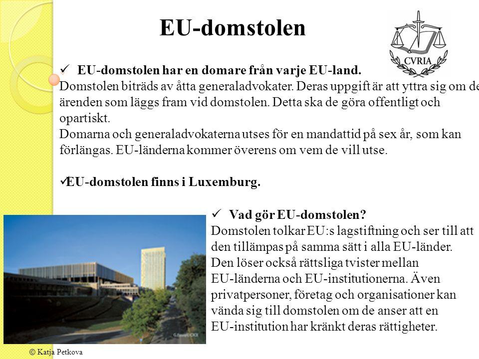 © Katja Petkova EU-domstolen har en domare från varje EU-land.