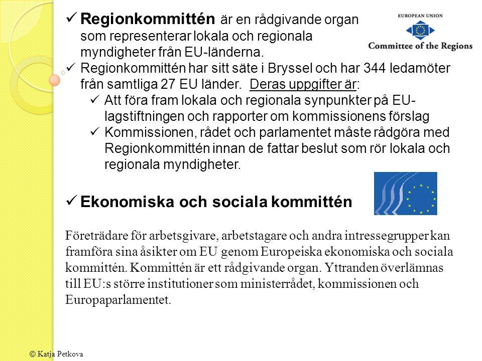 © Katja Petkova Regionkommittén är en rådgivande organ som representerar lokala och regionala myndigheter från EU-länderna.