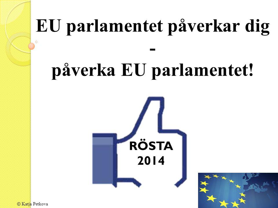 © Katja Petkova EU parlamentet påverkar dig - påverka EU parlamentet! RÖSTA 2014