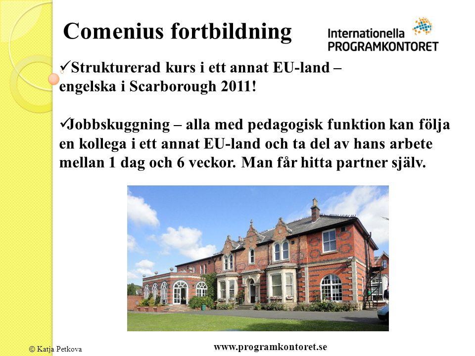 © Katja Petkova Comenius fortbildning Strukturerad kurs i ett annat EU-land – engelska i Scarborough 2011! Jobbskuggning – alla med pedagogisk funktio