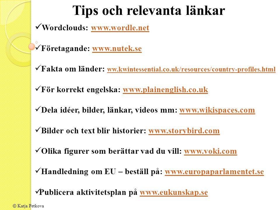 Tips och relevanta länkar Wordclouds: www.wordle.netwww.wordle.net Företagande: www.nutek.sewww.nutek.se Fakta om länder: ww.kwintessential.co.uk/reso