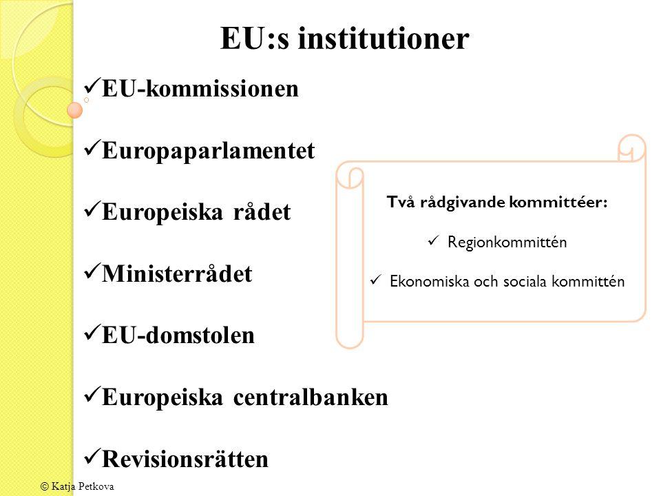 © Katja Petkova EU-kommissionen Europaparlamentet Europeiska rådet Ministerrådet EU-domstolen Europeiska centralbanken Revisionsrätten EU:s institutioner Två rådgivande kommittéer: Regionkommittén Ekonomiska och sociala kommittén