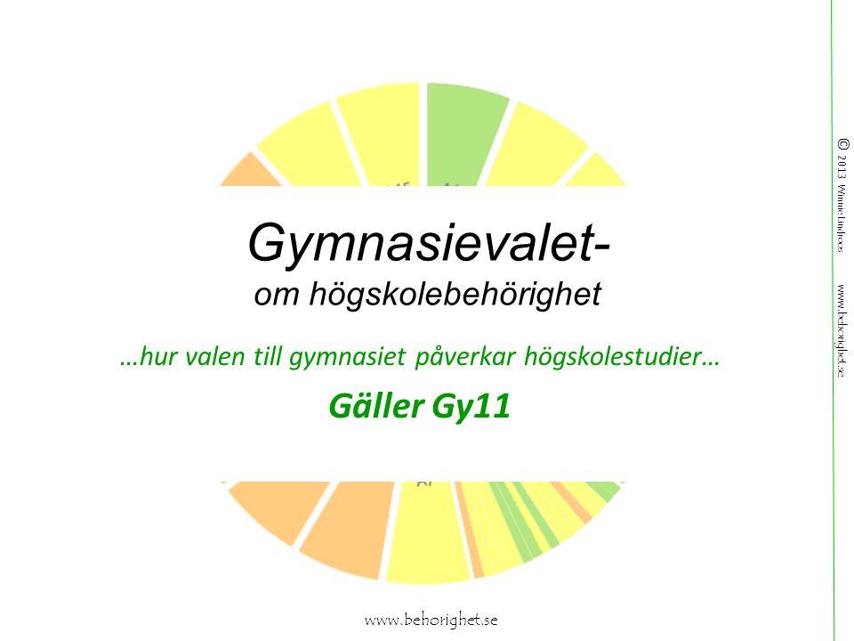© 2013 Winnie Lindroos www.behorighet.se Gymnasievalet- om högskolebehörighet …hur valen till gymnasiet påverkar högskolestudier… Gäller Gy11 www.behorighet.se
