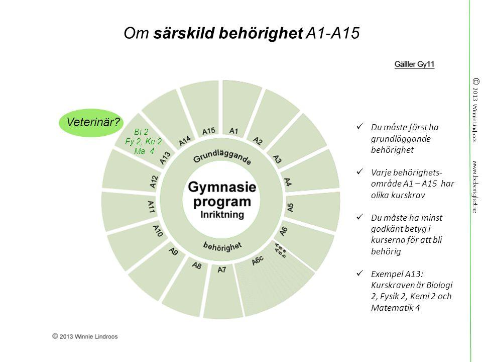© 2013 Winnie Lindroos www.behorighet.se Om särskild behörighet A1-A15 Veterinär.
