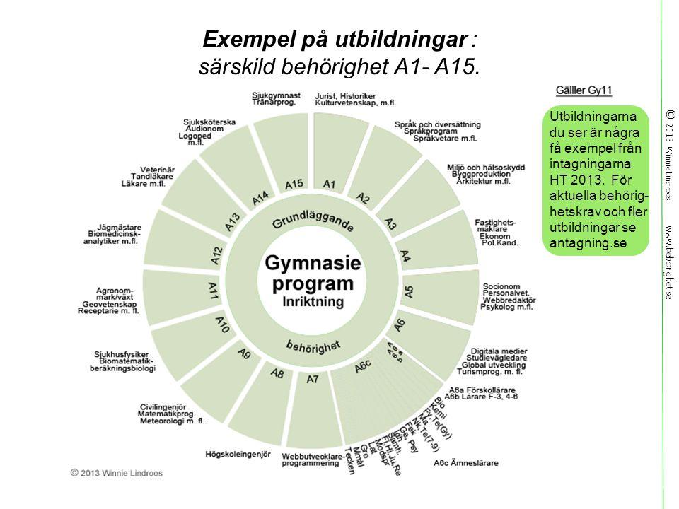 © 2013 Winnie Lindroos www.behorighet.se Exempel på utbildningar : särskild behörighet A1- A15.