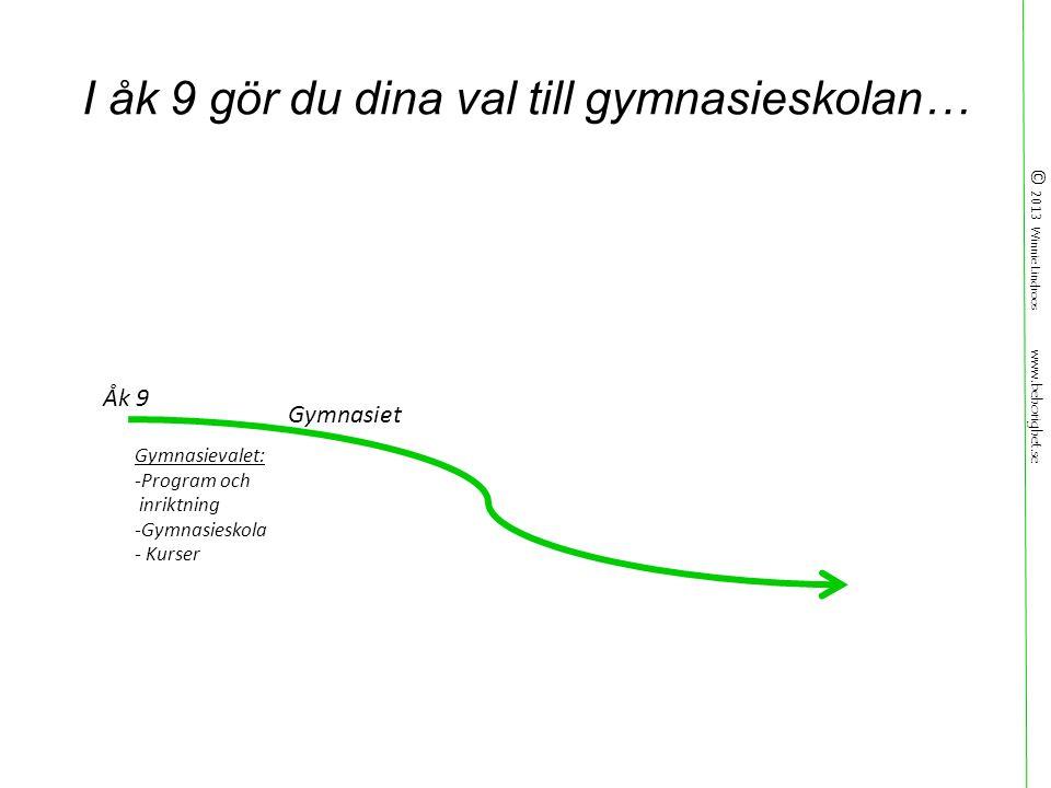 © 2013 Winnie Lindroos www.behorighet.se I åk 9 gör du dina val till gymnasieskolan… Gymnasievalet: -Program och inriktning -Gymnasieskola - Kurser Gymnasiet Åk 9