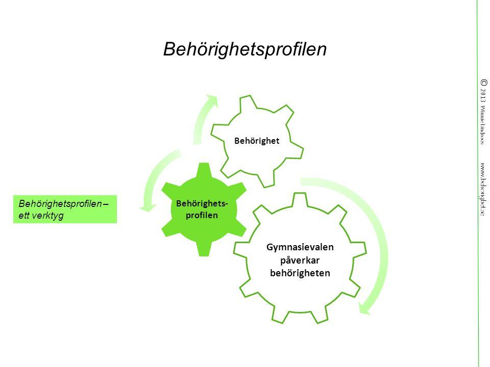 © 2013 Winnie Lindroos www.behorighet.se Behörighetsprofilen Behörighetsprofilen – ett verktyg Behörighets- profilen Behörighet Gymnasievalen påverkar behörigheten