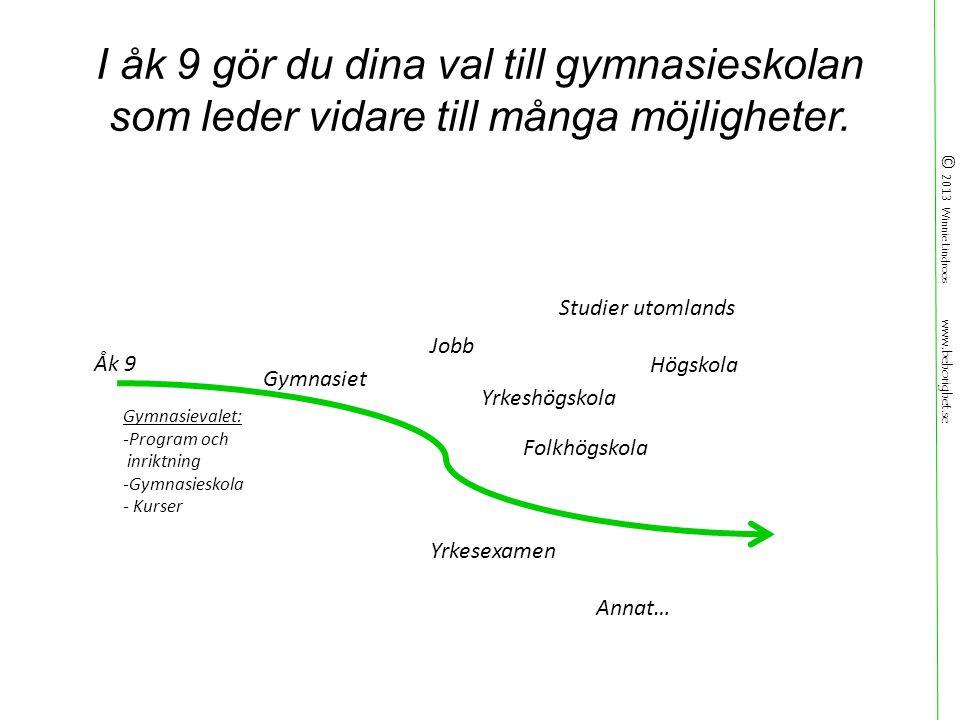 © 2013 Winnie Lindroos www.behorighet.se I åk 9 gör du dina val till gymnasieskolan som leder vidare till många möjligheter.