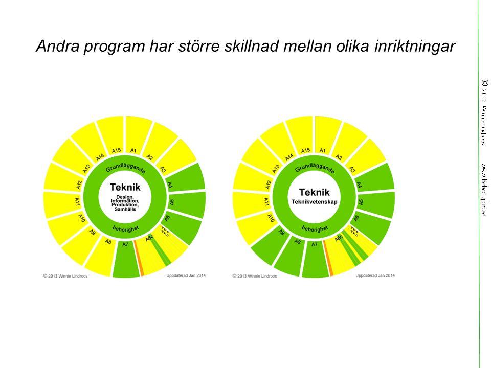 © 2013 Winnie Lindroos www.behorighet.se Andra program har större skillnad mellan olika inriktningar