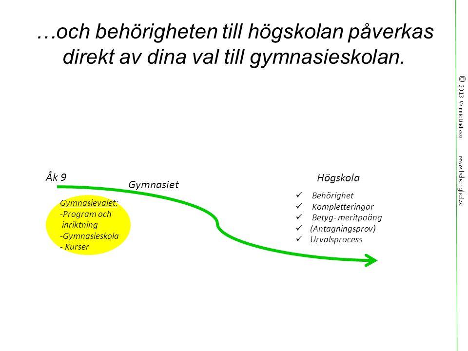 © 2013 Winnie Lindroos www.behorighet.se …och behörigheten till högskolan påverkas direkt av dina val till gymnasieskolan.