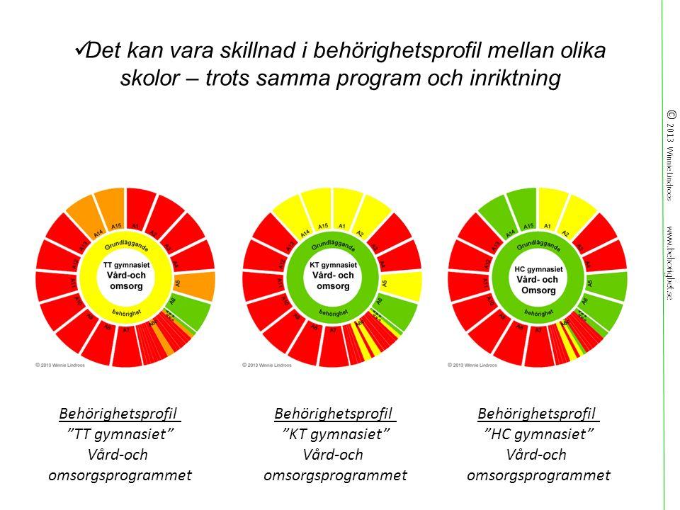 © 2013 Winnie Lindroos www.behorighet.se Det kan vara skillnad i behörighetsprofil mellan olika skolor – trots samma program och inriktning Behörighetsprofil TT gymnasiet Vård-och omsorgsprogrammet Behörighetsprofil KT gymnasiet Vård-och omsorgsprogrammet Behörighetsprofil HC gymnasiet Vård-och omsorgsprogrammet