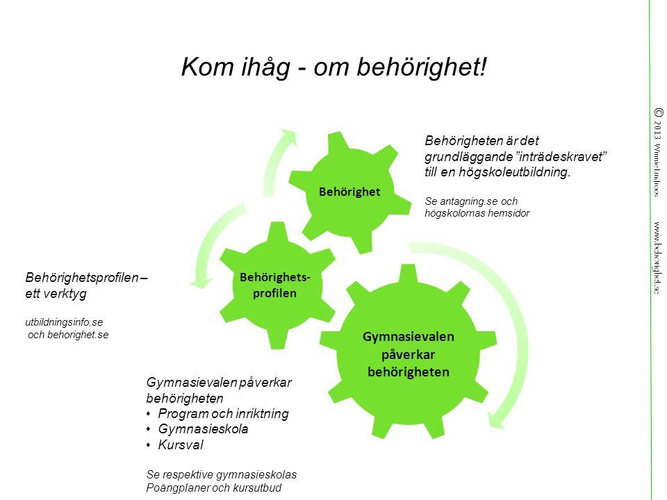 © 2013 Winnie Lindroos www.behorighet.se Kom ihåg - om behörighet.