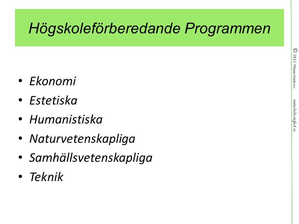 © 2013 Winnie Lindroos www.behorighet.se Högskoleförberedande Programmen Ekonomi Estetiska Humanistiska Naturvetenskapliga Samhällsvetenskapliga Teknik
