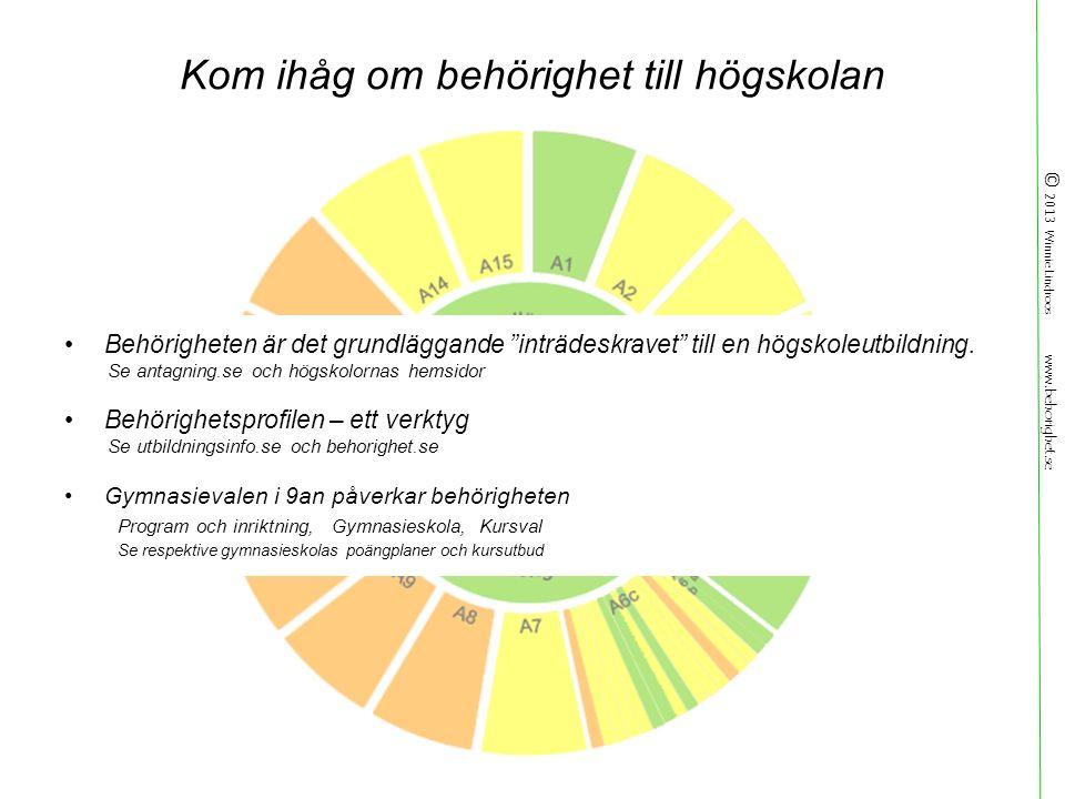 © 2013 Winnie Lindroos www.behorighet.se Kom ihåg om behörighet till högskolan Behörigheten är det grundläggande inträdeskravet till en högskoleutbildning.