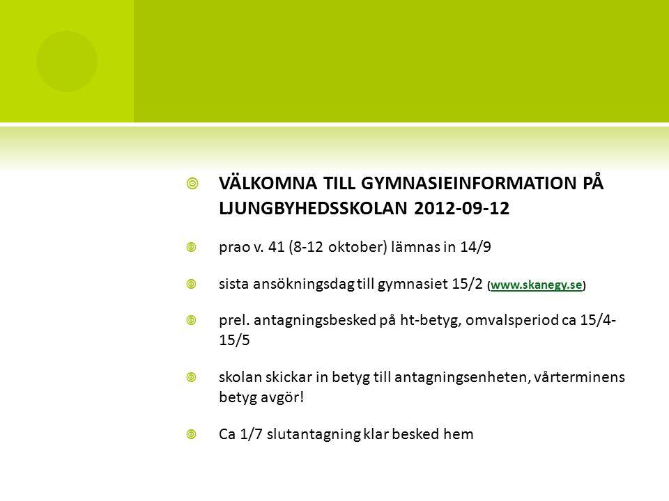  VÄLKOMNA TILL GYMNASIEINFORMATION PÅ LJUNGBYHEDSSKOLAN 2012-09-12  prao v.