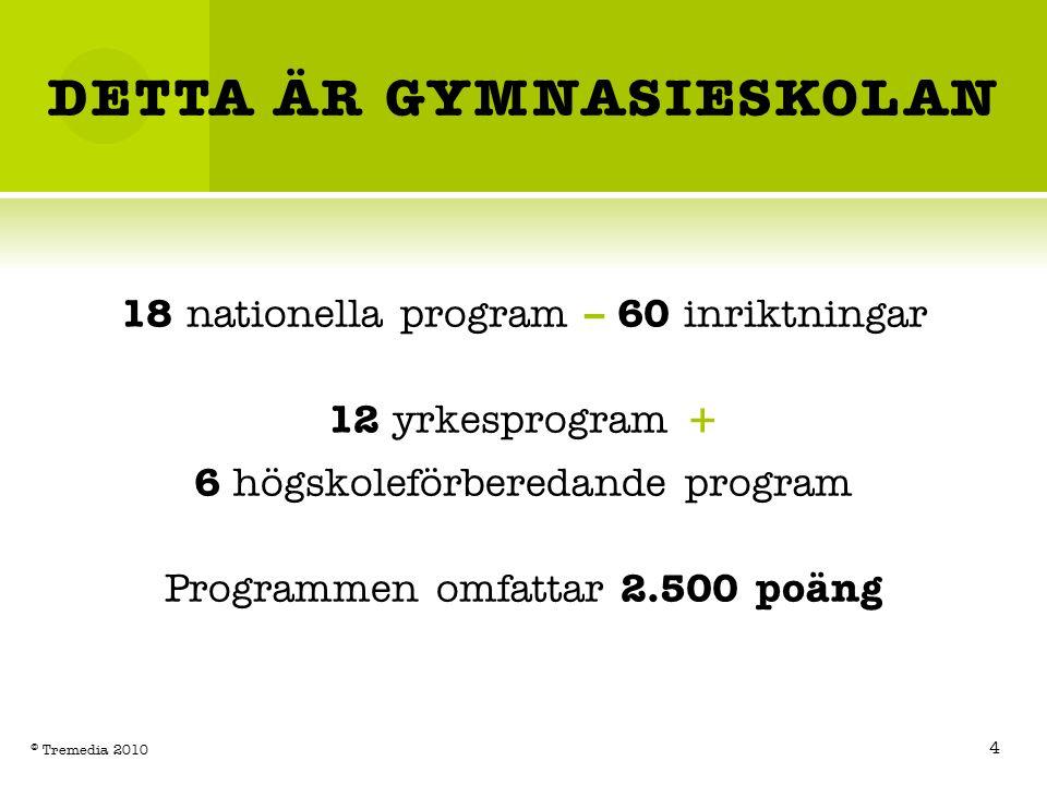 DETTA ÄR GYMNASIESKOLAN 18 nationella program – 60 inriktningar 12 yrkesprogram + 6 högskoleförberedande program Programmen omfattar 2.500 poäng 4 © Tremedia 2010