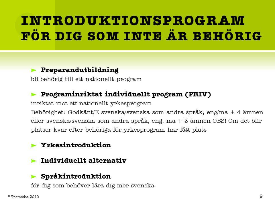 INTRODUKTIONSPROGRAM FÖR DIG SOM INTE ÄR BEHÖRIG Preparandutbildning bli behörig till ett nationellt program Programinriktat individuellt program (PRIV) inriktat mot ett nationellt yrkesprogram Behörighet: Godkänt/E svenska/svenska som andra språk, eng/ma + 4 ämnen eller svenska/svenska som andra språk, eng, ma + 3 ämnen OBS.
