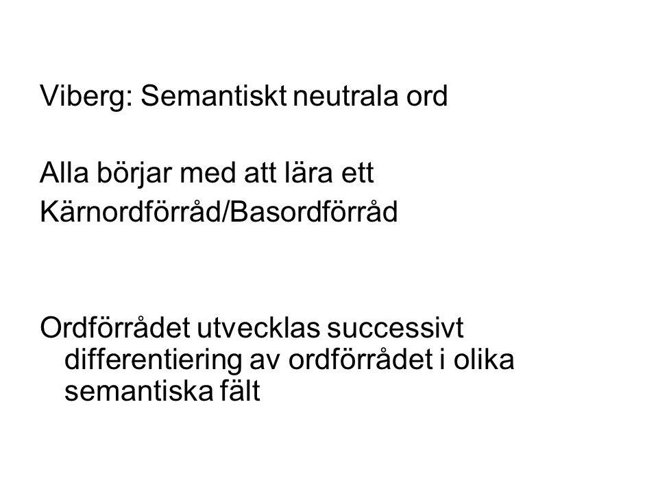 Viberg: Semantiskt neutrala ord Alla börjar med att lära ett Kärnordförråd/Basordförråd Ordförrådet utvecklas successivt differentiering av ordförrådet i olika semantiska fält