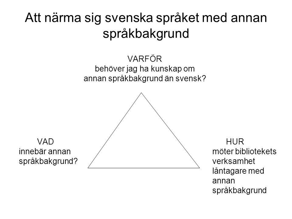 Att närma sig svenska språket med annan språkbakgrund VARFÖR behöver jag ha kunskap om annan språkbakgrund än svensk? VAD HUR innebär annanmöter bibli