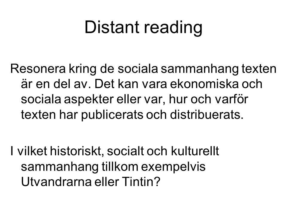 Distant reading Resonera kring de sociala sammanhang texten är en del av. Det kan vara ekonomiska och sociala aspekter eller var, hur och varför texte
