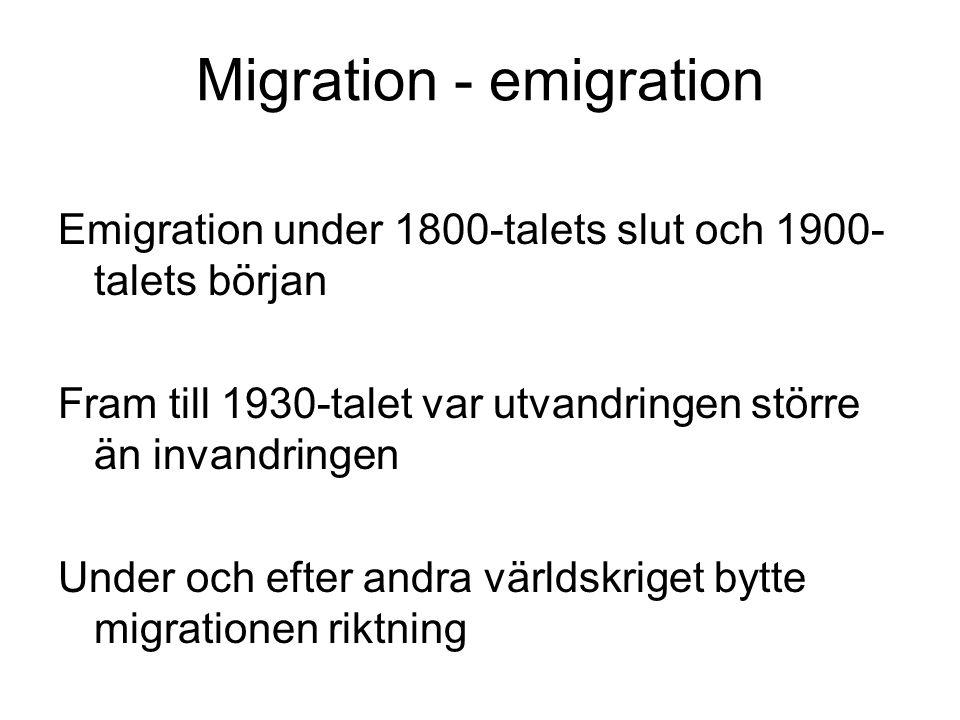 Migration - emigration Emigration under 1800-talets slut och 1900- talets början Fram till 1930-talet var utvandringen större än invandringen Under och efter andra världskriget bytte migrationen riktning