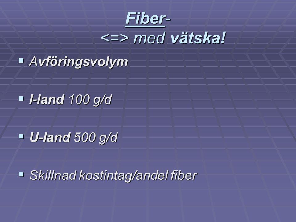 Fiber- med vätska!  Avföringsvolym  I-land 100 g/d  U-land 500 g/d  Skillnad kostintag/andel fiber