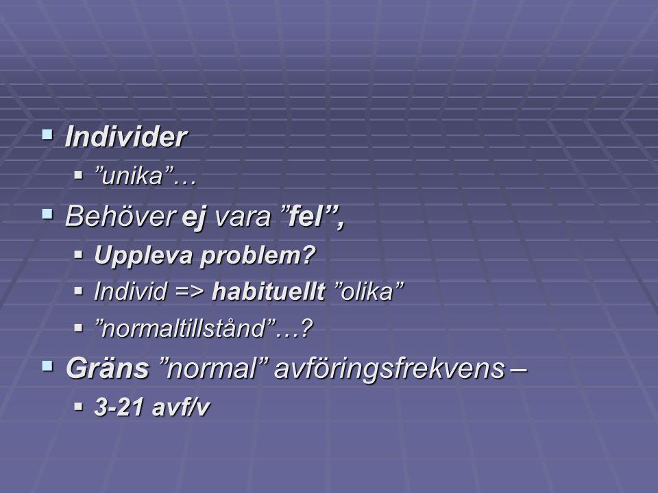 """ Individer  """"unika""""…  Behöver ej vara """"fel"""",  Uppleva problem?  Individ => habituellt """"olika""""  """"normaltillstånd""""…?  Gräns """"normal"""" avföringsfre"""