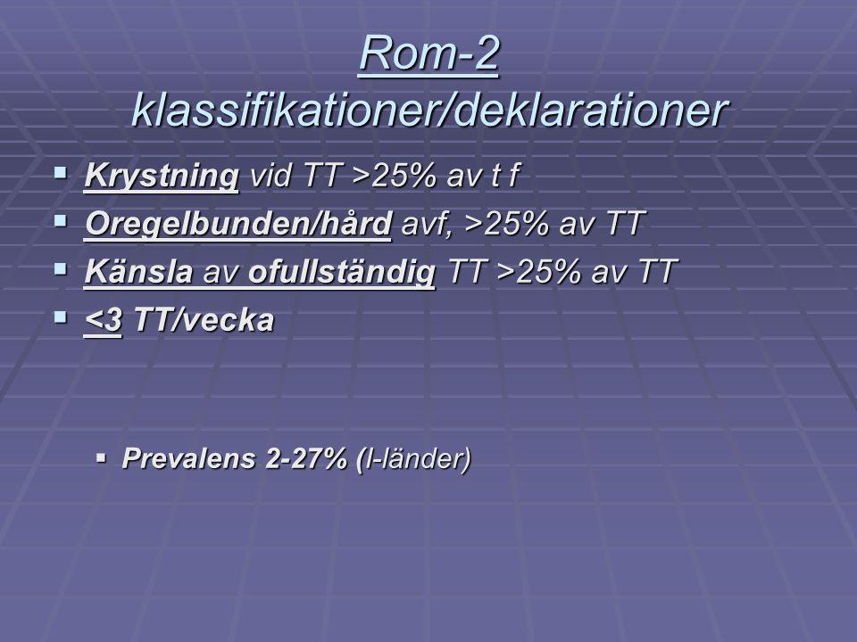 Rom-2 klassifikationer/deklarationer  Krystning vid TT >25% av t f  Oregelbunden/hård avf, >25% av TT  Känsla av ofullständig TT >25% av TT  <3 TT