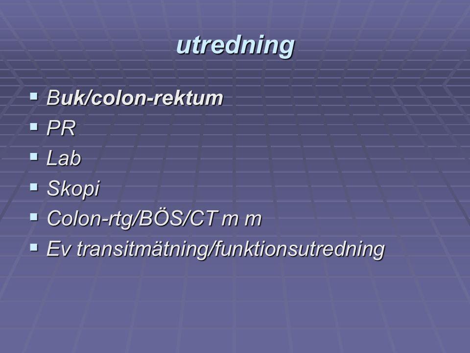 utredning  Buk/colon-rektum  PR  Lab  Skopi  Colon-rtg/BÖS/CT m m  Ev transitmätning/funktionsutredning