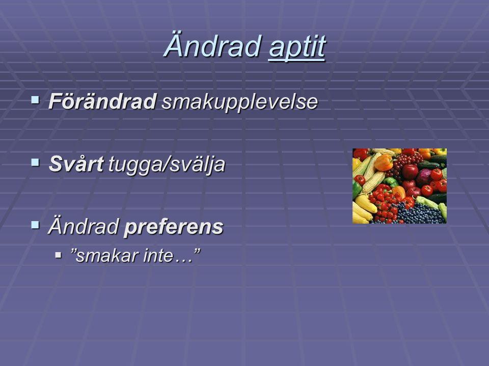 """Ändrad aptit  Förändrad smakupplevelse  Svårt tugga/svälja  Ändrad preferens  """"smakar inte…"""""""